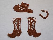 Cowboy Boots Hat Horseshoe Paper Die Cuts x 4 Sets Scrapbooking Embellishment