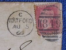 1866 Watford UK Cover w Red Victoria One Penny Perf. Stamp/Fancy Hand Cancel-849