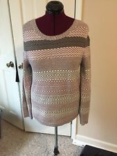 KIM ROGERS LADIES SIZE XL PETITE PULLOVER SWEATER LONG SLEEVES PINK GRAY WHITE
