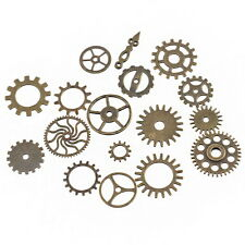 17 x Mixed Bronze Watch Parts Steampunk Cogs Gears charms pendants G31