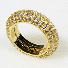 18K Yellow Gold Filled 30.8CT CZ Women Wedding Jewelry Band Ring R7448 Size 9