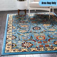4 x 6 feet Traditional Oriental Area Rug Rectangular Vintage Floral Design Blue