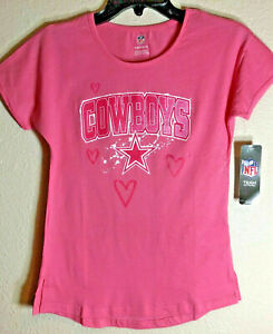 Authentic DALLAS COWBOYS / Pink / Youth-Girls T-shirt /Pink Star/Hearts /NWT S/S
