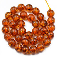 12mm Brown Amber Resin Jewelry Making Spacer Loose Beads Strand 15.5Inch
