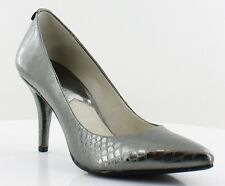 New Michael Kors FLEX Python Snake Leather Pointy Toe Pump Mid Heel Gunmetal 5.5