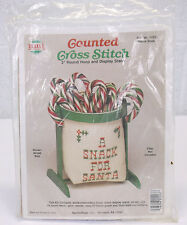 NOS Santa Snack Needlemagic Counted Cross Stitch Kit w Round Hoop & Stand