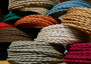 25' Cotton Cloth Covered Twisted Electrical Wire, Vintage Lamp Cord Antique Fans