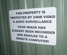 ENGRAVED SECURITY WARNING SIGN - AUDIO VIDEO SURVEILLANCE REMOTE COMPUTER