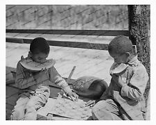 1930s era vintage photo-African American boys eating watermelon-checkers-8x10 in