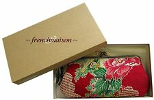 NEW Wallet Vintage Kimono SILK Fabric Exquisite Japanese Red Floral + Box Gift