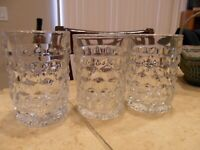 """3 LOVELY FOSTORIA """"AMERICAN"""" CLEAR GLASS 4"""" MID-CENTURY JUICE GLASSES TUMBLERS"""