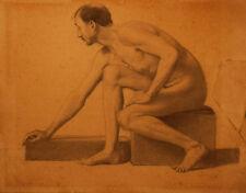 NUDO MASCHILE - STUDIO ACCADEMICO - Disegno Originale Matita su Carta 1800