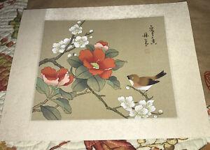 Vintage Japanese  Print - Bird & Hibiscus Flowers
