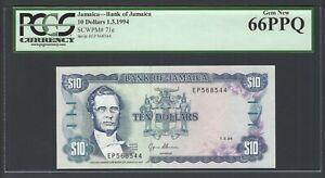 Jamaica 10 Dollars 1-3-1994 P71e Uncirculated Graded 66