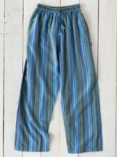 Gringo Fair Trade Nepalese Turquoise Striped Cotton Hippy Trousers