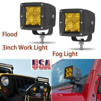 "2PCS 3"" Amber 5D LED Work Light Bar Flood Fog For Jeep Off-Road ATV 4x4 Truck US"