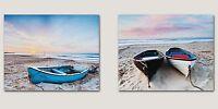 Grand Tableau mural Set BOTTE 2 pièces par 50x 40cm Bateaux Plage peintures