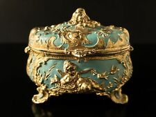 Antique French Gilt Ormolu Enamel Jewelry Box Casket Cherubs Birds Art Nouveau