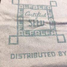 Vintage Certified Alfalfa Seed Intact Feed Sack Bag 60 Lbs. NICE