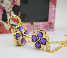 Purple Shugo Chara Cosplay Openable Lock & Key Necklace Pendant Great Gift