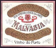 MALVASIA PORT WINE Vintage Litho gold Label embossed. Vinho do Porto Portugal