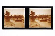 Maroc Marrakech Abreuvoir Photo Plaque de verre stereo Vintage