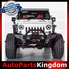 Rock Crawler HD Front Bumper+Rivet+OE Fog Light Fit 07-17 Jeep JK Wrangler