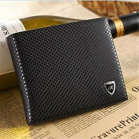 Fashion Men's Leather Bifold Wallet Pockets ID Credit Card Bifold Purse Black JP