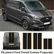 Fasce adesive Ford TRANSIT Custom Turneo BICOLORE FURGONE strisce nero arancio
