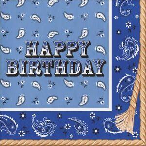 Western Blue Bandana Cowboy Happy Birthday Lunch Paper Napkins 16 Pack Tableware
