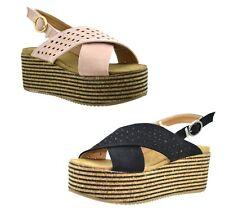 Sandali donna platform scarpe estive in camoscio con zeppa in sughero e strass