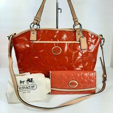 Coach Peyton Patent Leather Purse Wallet Set Persimmon Pocket Handbag Tote 20028