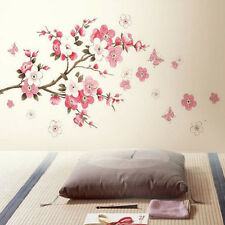Pink Cherry Peach Blossom Plum Flowers Butterfly Wall Stickers Mural Room Decal