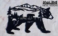 Bear Scene Inside Of A Bear Metal Wall Art Home Decor