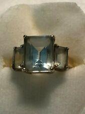 10K yellow Gold Aquamarine 3 emerald cut stones ring, size 6