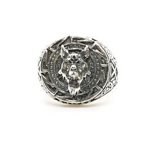 Wolf Signet Ring .925 Silver Egyptian Aztec Symbol Biker Metal Sizes M-Z