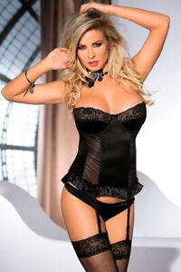Corsage Samelle schwarz mit String sexy Dessous mit Strapsen Satin S M