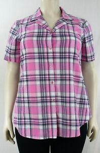 Women`s Cap Sleeve Blouse Button Down Check Prints  NOW REDUCED Sizes(14-28)