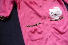NEW 9/12 Months Baby Pussy Cat Pink & Leopard print trim Sleepsuit 100% Cotton