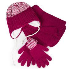 Girls' Pompom Hat, Snood Scarf and Gloves Set 6-13 Years Crimson