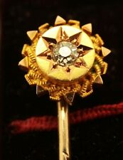 Victorian 15ct Rose Gold Diamond Tie / Lapel Pin & Stud with Original Box  NICE1