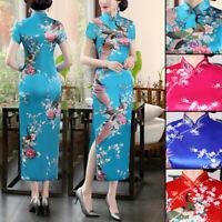 Traditional Chinese Women's Silk Satin Long Dress Embroidered Cheongsam Qipao