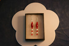Nice Earrings With Red Agate And Pearls 4.5 Cm.Long +Silver Hooks In Display Box