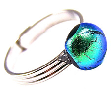 """Ring Adjustable Green Emerald Jade Dichroic Glass 1/4"""" 8mm Dichro Silver Plated"""