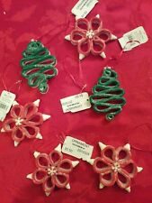 "6 Ribbon Candycane Stripe Ornaments Green Red Glitter Trees 3.5-4"" New"
