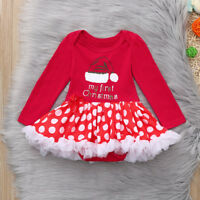 Newborn Infant Baby Girls Tutu Tulle Dress Christmas Romper Clothes Party Outfit
