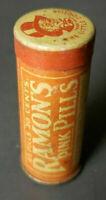 Vintage Advertising Tin Ramon's Pink Pills Laxative Medicine Tin Display Tin