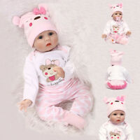 "22"" 16"" Realistic Reborn Silicone Baby Dolls Lifelike Newborn Christmas Gift Toy"