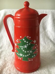 Waechtersbach Christmas Tree Red Thermos Plastic Pitcher Carafe Hot Cold EUC