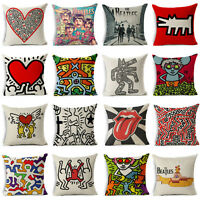 Keith Haring cotton linen pillow case cover sofa waist cushion cover Home Decor